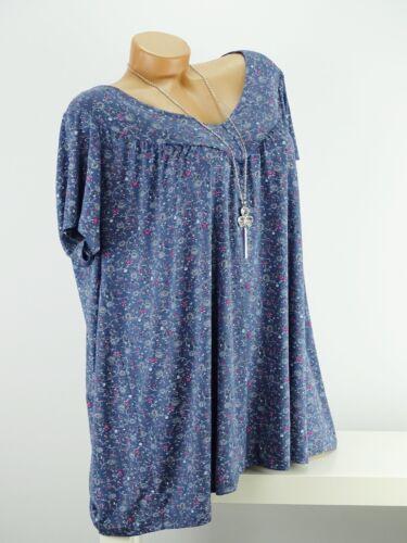 Shirt mit Kette Top Tunika Bluse Lagenlook Größe 46-54 one size blau geblümt w