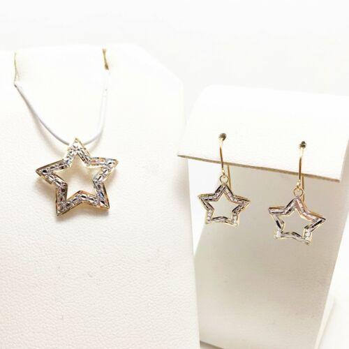 Celestial Dangling 14k Gold Star Earring & Pendant