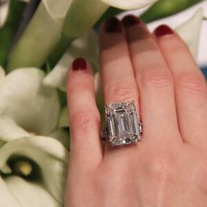 Large-23-CT-White-Emerald-Cut-Solitaire-Engagement-Cocktail-Ring-Party-925Silver