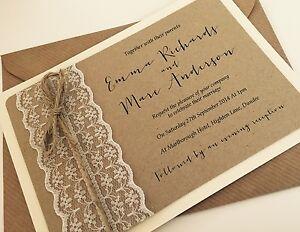 1 Vintage Rustic Shabby Chic Emma Lace Wedding Invitation Rsvp