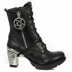 New-Rock-TR095-S1-Ladies-Black-Leather-Ziped-Lace-Ankle-High-Gothic-Punk-Boots