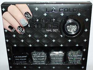 LA-Colors-GUNMETAL-STUDS-Nail-Polish-amp-Studs-Set-REDUCED