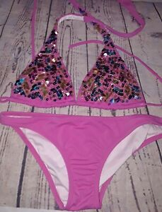 146390a79b2ab Details about Victoria's Secret Pink Sequined Halter Style Two Piece Bikini  Size Small
