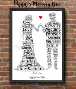 Personalised Word Art Bride Groom Wedding Engagement Marriage Gift Keepsake