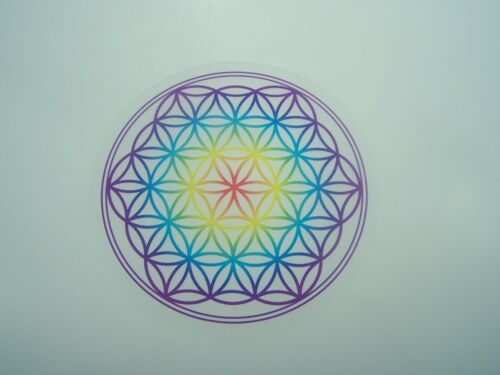 "Untersetzer /""Blume des Lebens/"" 9,5 cm Chakra-Farben Lebensblume aus Acryl"