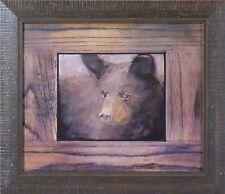 CUB by Mary Roberson 12x14 FRAMED PRINT Black Brown Bear Cub Face