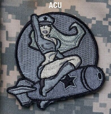 BOMBER PINUP GIRL Tactical Combat Hook Badge OIF OEF Military Morale Patch - ACU
