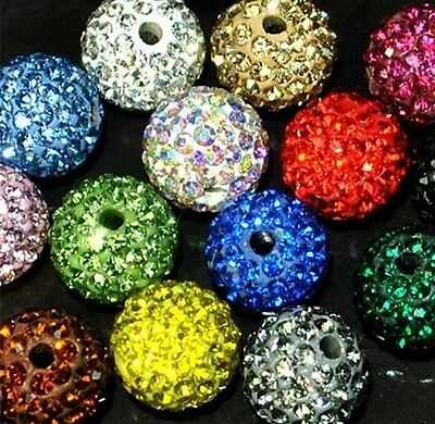 100pcs 12mm Pave Disco Ball For Bracelet Crystal Shamballa  beads  Mixed color