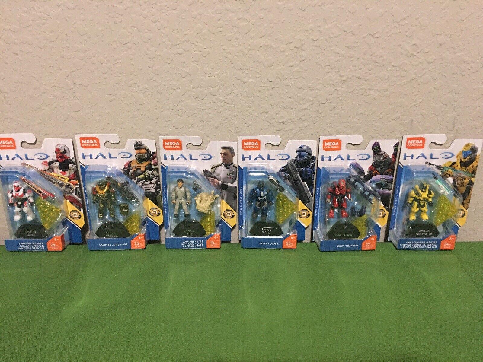 Mega Construx Halo Heroes series 9 Complete Set Of 6 New.   CPT Keyes, Jorge-052