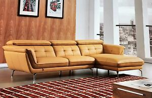 Details about 2PC Italian Top Grain Yellow Leather Sofa Chaise Chair  Sectional Living Room Set