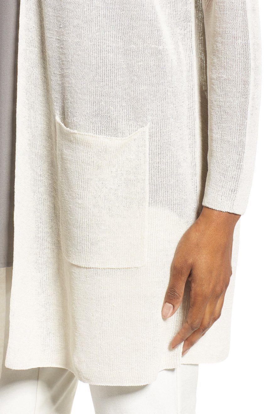 298 BNWT Eileen Fisher Fisher Fisher Fine Organic Linen Crepe Knit BONE Long Cardigan 1X 8448ad