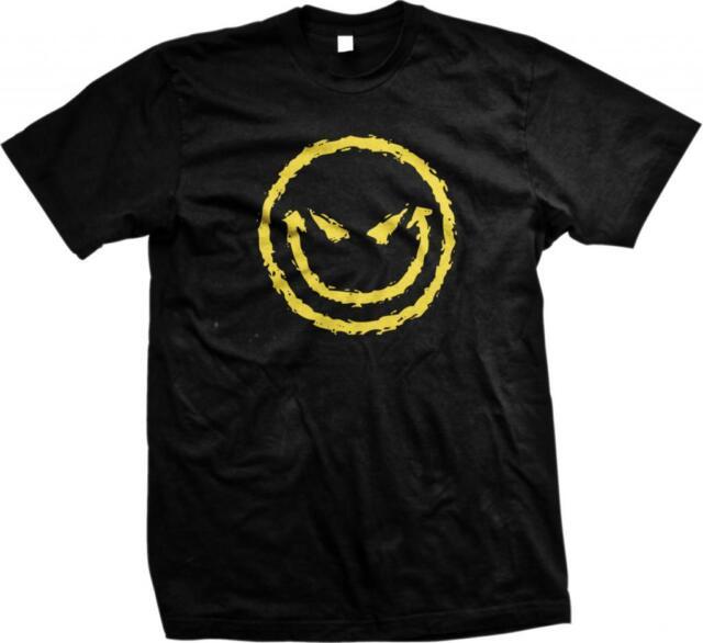 Evil Smiley Face Emoji Emoticon Happy New Gothic Emo Funny Comedy Mens T-shirt