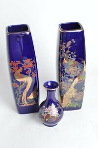 VTG-Japanese-Cobalt-Ikebana-Porcelain-Vases-W-Kacho-zu-flower-and-bird-design