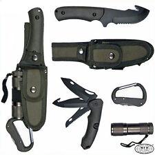 MFH Set Coltello multifunzionale Pesca Caccia Survival + accessori 45451B Olive