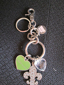 Womens Designer Kathy Van Zeeland Silver Charm Key Chain Ring For ... 2f5fccda9c