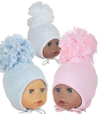 BabyPrem Baby Clothes Boys White Blue Pom Pom Winter Beanie Hat 6-18 months
