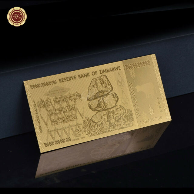 WR Zimbabwe 100 Trillion Dollars Gold Banknote Polymer Note Best Business Gift