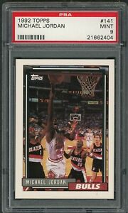 Michael-Jordan-Chicago-Bulls-1992-Topps-Basketball-Card-141-Graded-PSA-9-MINT