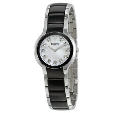 Bulova Women's 98P127 Diamond Black & Silver Ion-Plated Watch
