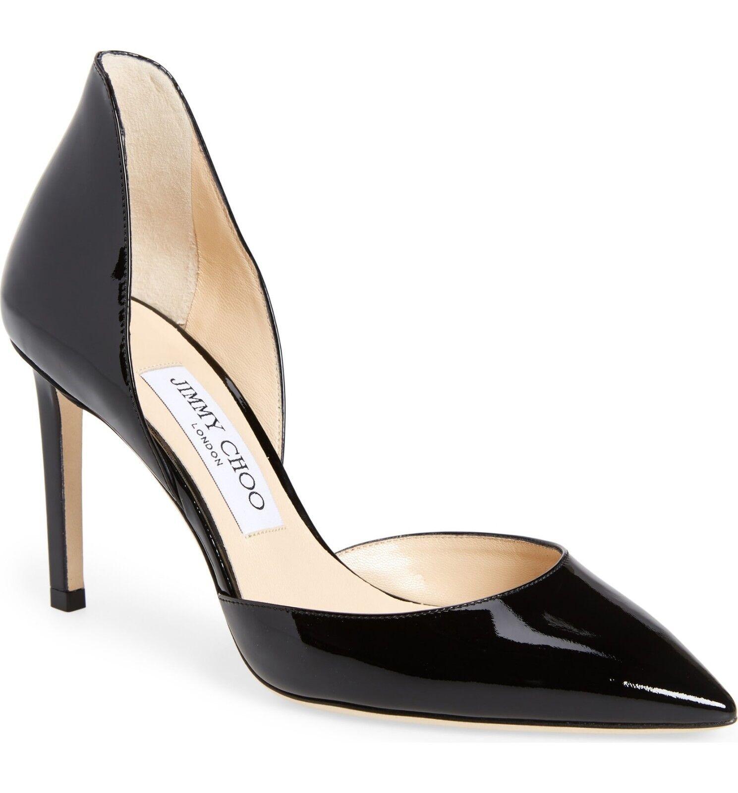 Nuevo En Caja Jimmy Choo Liz d d d 'Orsay Zapato De Puntera Puntiaguda Zapato de Tacón Patente Negro 38 -7  respuestas rápidas