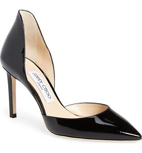 d685ed4e9476 NIB Jimmy Choo Liz d Orsay Pointy Toe Pump Shoe Black Patent Heel ...
