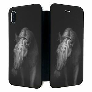 iPhone-XS-MAX-Full-Flip-Wallet-Case-Cover-B-amp-W-Horse-Photo-S2063