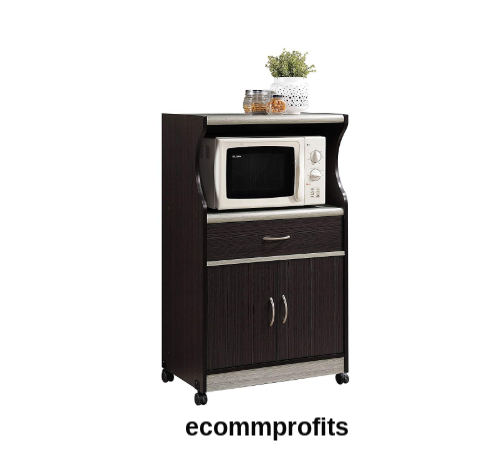 Rolling Microwave Cart Stand Storage Cabinet Drawer Doors Kitchen Furniture  Home