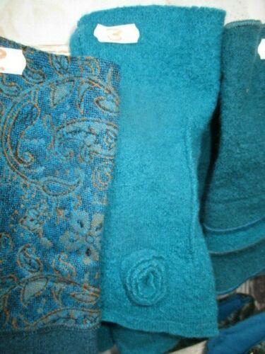 Armstulpen Merino Wolle Stulpen Arm Viscose Handstulpen blau petrol Winter Filz