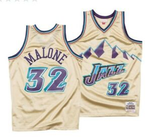 outlet store 7febc 6cdf8 Details about MITCHELL & NESS NBA Utah Jazz #32 Karl Malone Gold Collection  Swingman JERSEY