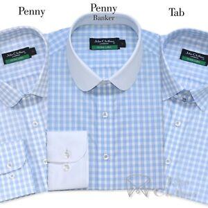 Algodon-Hombre-camisas-cuello-PENNY-Tab-cuello-azul-cielo-de-Cuadros-Club