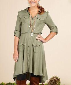 Matilda-Jane-Tree-Canopy-Dress-Green-High-Low-Pockets-Lace-Ruffles-Womens-XS-NWT