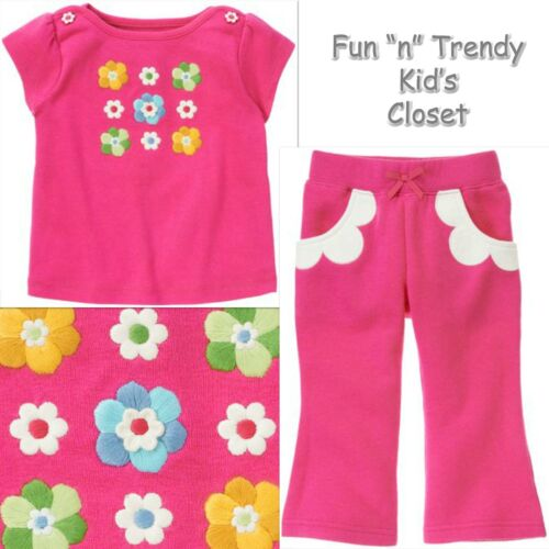 NWT Gymboree SHOWERS OF FLOWERS Girls Size 3-6 Months Pants /& Tee Shirt 2-PC SET