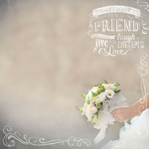 2pc Paper House BRIDAL BOUQUET 12x12 Scrapbooking Paper WEDDING BRIDE FLOWERS