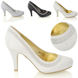Womens-Wedding-Shoes-Classic-Heel-Ladies-Diamante-Party-Prom-Slip-On-Pumps-Size