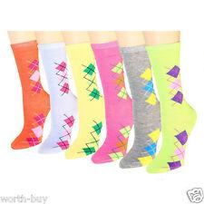 New 12 Pairs Womens Argyle Diamond Crew Hosiery Socks Cotton Size 9-11 Fashion