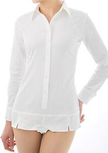 Women's Ladies Bodysuit Stretch Shirt White Long Sleeve Button ...