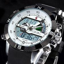SHARK Fashion Mens LCD Digital Rubber Date Day Sport Army Quartz Wrist Watch New