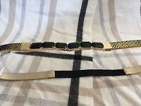 (nwt) Inc Women's Gold/black Skinny Elastic Back Belt Sizes S/m- M/l-l/xl