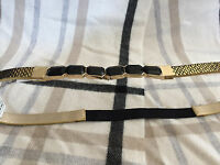 (nwt) Inc Women's Gold/black Skinny Elastic Back Belt Sizes S/m- M/l-l/xl