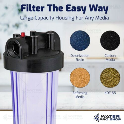 "2 Stage 10/"" Big Blue Clear Housing 1/"" Outlet//Inlet For Whole House Water Filter"