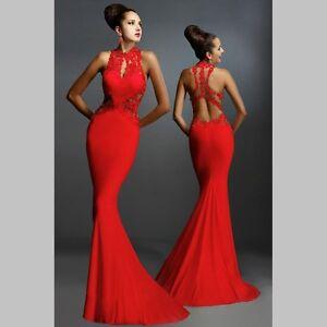 Abendkleider lang rot neckholder