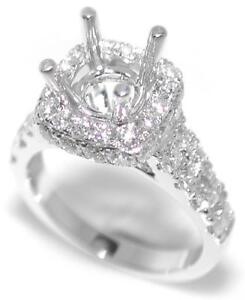 Luxurious-1-75-Ct-Round-Diamond-Encrusted-Halo-Semi-Mount-Setting-14K-White-Gold