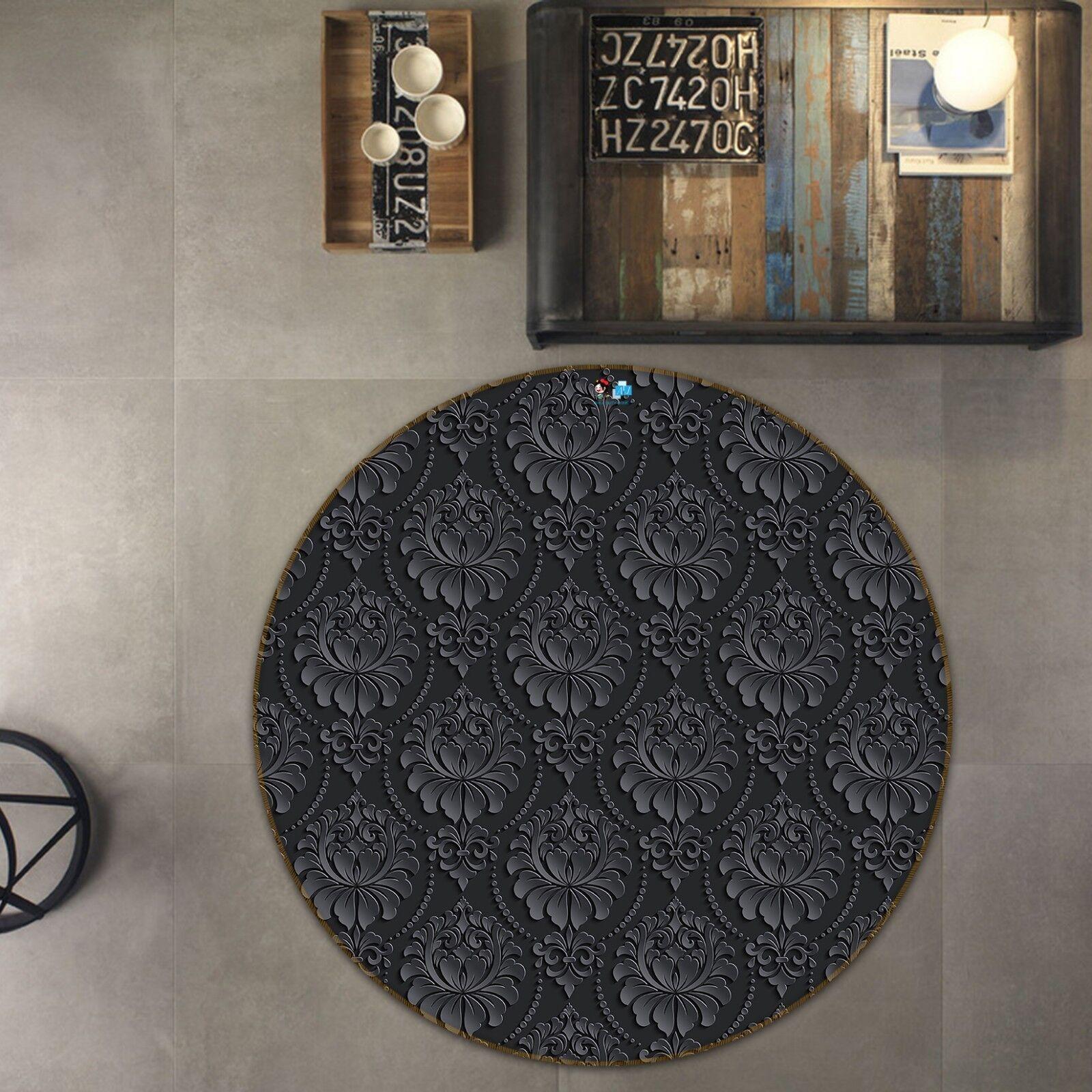 3D Nero Floreale Art 5 antiscivolo tappeto camera Tappetino Tondo Qualità Elegante Tappeto foto