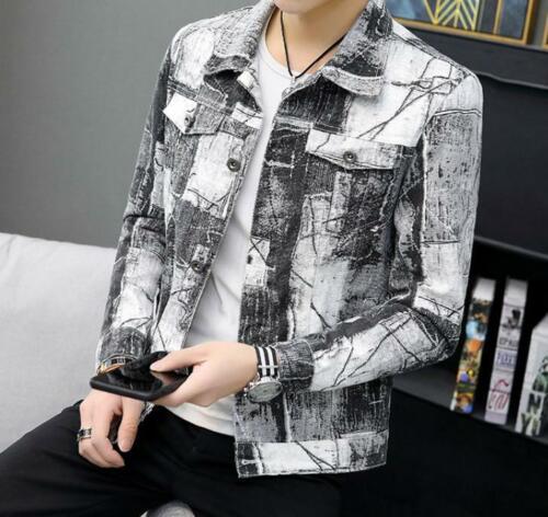 Mens Print Motorcycle Jacket Cotton Denim Jeans Coat Slim Blazer Youth Top Ske15