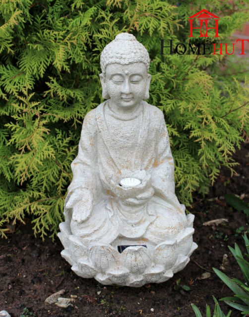 Garden Buddha Ornament Sitting Solar Powered Light up Large Outdoor ...