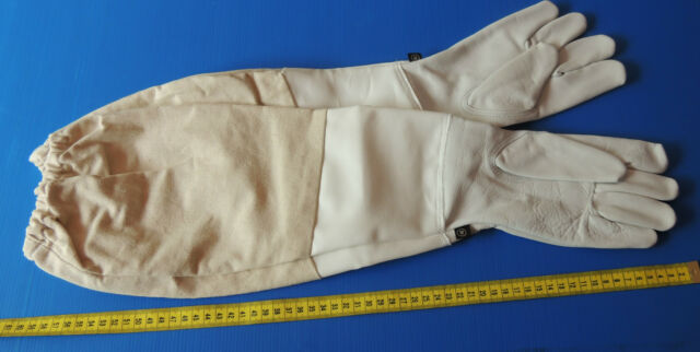 Beekeeping - long beekeeping gloves, soft leather, fabric sleeve, various sizes