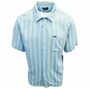 OBEY-Men-039-s-Turquoise-amp-Green-Vertical-Striped-S-S-Shirt-Retail-59-99-S11