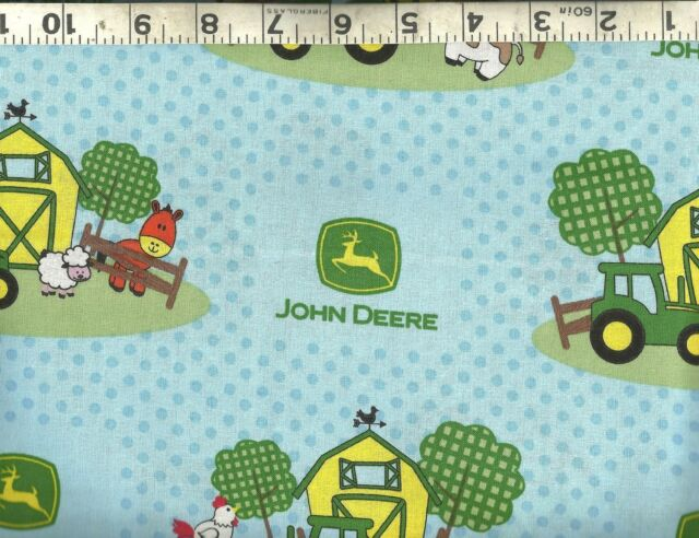 John Deere Nursery Baby Barn Yard Scenic 100/% cotton fabric by the yard