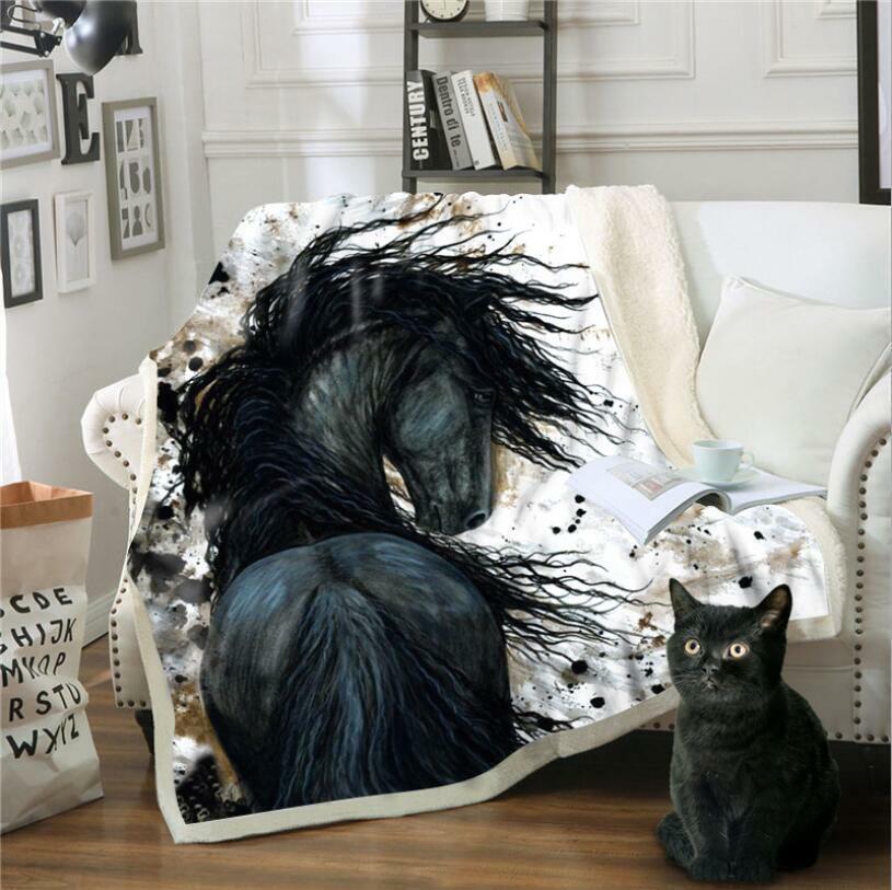 3D Schwarz Pferd M455 Warm Plüsch Fleece Decke Picknick Sofa Couch Quilt Bett Fa