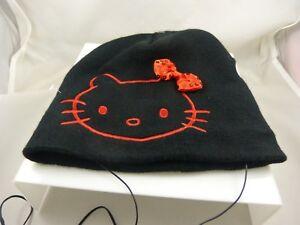Hello-Kitty-Sanrio-hat-beanie-headphones-music-Gently-used